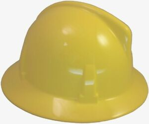 Msa Topgard Protective Full Brim Hats With Fas trac Suspension Yellow