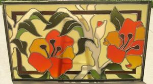 3 Mid Century Ben Mayer Art Glass Stained Leaded Window Ceiling Panels 30x48
