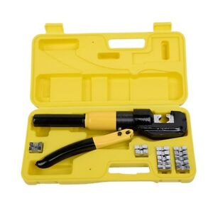 Crimping Tool 8 Ton Hydraulic Wire Terminal Crimper Battery Cable Lug W dies