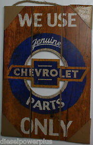 Genuine Chevrolet Part Only Wood Vintage Sign Gmc Chevy Plate Logo Tag License
