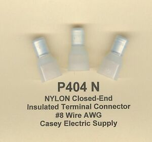 25 Nylon Insulated Closed End Terminal Connectors 8 Wire Gauge Awg Usa