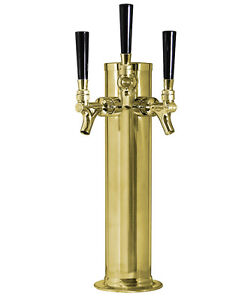 Kegco Polished Brass Triple Tap 3 Faucet Draft Beer Kegerator Tower