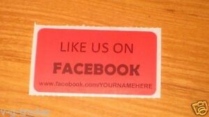 Lot Of 100 Red Like Us On Facebook Custom Your Name Here Shipping Stickers 2x1
