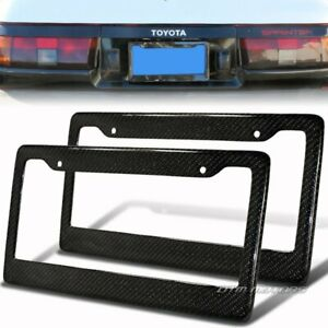 2pcs Jdm Real 100 Carbon Fiber Twill Weave License Plate Frame Cover Universal