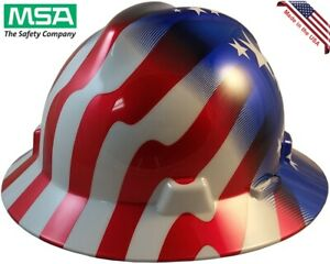 Msa Full Brim American Stars And Stripes Hard Hat With Ratchet Suspension