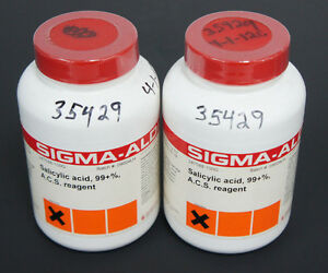 Lot Of 2 New Sigma aldrich 247588 100g Salicylic Acid Bottles 99 A c s Reagent