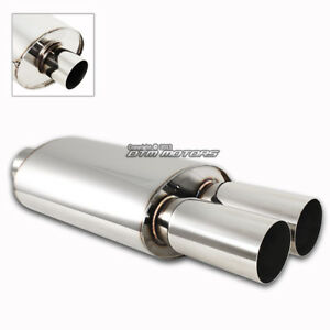3 Dual Tip T 304 Stainless Steel 2 5 Inlet Weld on Muffler Exhaust For Acura