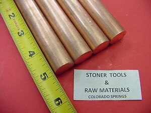 4 Pieces 3 4 C110 Copper Round Rod 5 Long H04 Solid Cu New Lathe Bar Stock