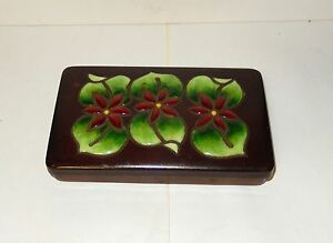 Ando Repousse Cloisonne Copper Green Flower Enamel Box Signed