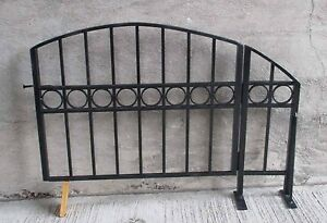 Decorative Arch Top Black Wrought Iron Steel Swing Gate