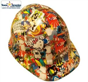 New Hydro Dipped Cap Style Hard Hat W Ratchet Suspension Sticker Bomb 2
