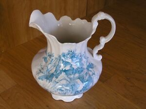 Large Antique Laughlin Chamber Wash Pitcher Blue Roses 11 3 4 Lion