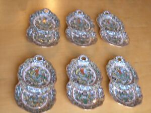 Six Antique Chinese Canton Famille Rose Verte Medallion Dishes 1000 Butterflies