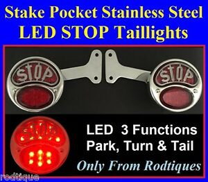 Led Stop Taillights Stainless Steel Custom Pickup Truck Hot Rod Rat Rod Ford