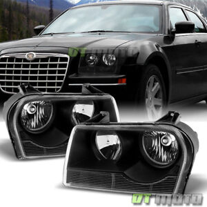 Black 2005 2010 Chrysler 300 Headlights Headlamps Left Right Replacement 05 10