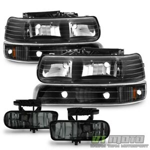 99 06 Silverado Suburban Tahoe Black Headlights Bumper Signal Smoked Fog Lights