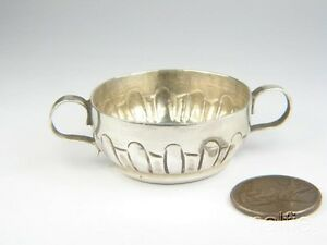 Antique English Silver Miniature Porringer Bowl C1823