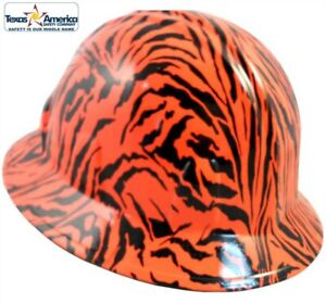 New Hydro Dipped Full Brim Hard Hat W ratchet Suspension Tiger Orange Wild