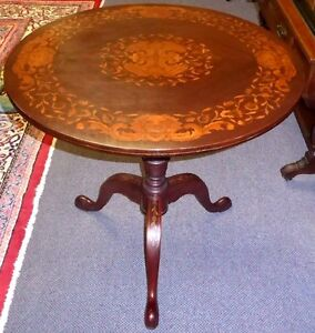 Antique Marquetry Tilt Top Round Table W 3 Marquetry Cabriole Legs 1910