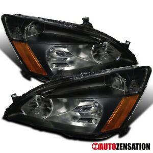 For 2003 2007 Honda Accord Lx Ex 2dr 4dr Pair Black Headlights Lamps amber