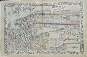 Map Of New York And Brooklyn Augustus Mitchell C 1881