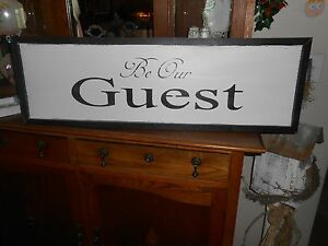 Be Our Guest Vintage Antique Style Primitive Wood Sign Guest Room Sign