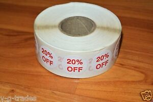 Lot 1000 Self adhesive 20 Off Labels 3 4 Stickers Tags Retail Store Discount