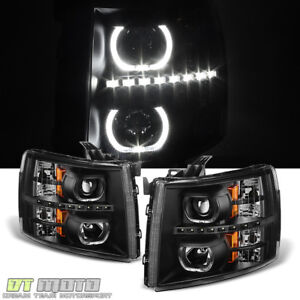 Black 2007 2013 Chevy Silverado 1500 2500hd 3500hd Led Halo Projector Headlights