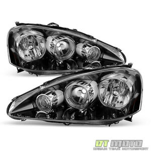 Black 2005 2006 Acura Rsx Headlights Headlamps Pair Left right Replacement 05 06