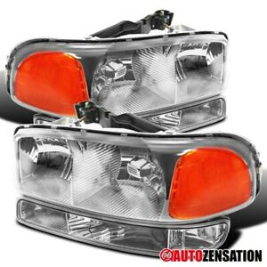 For 1999 2006 Gmc Sierra Yukon Xl Clear Lens Headlights Bumper Lamps Pair
