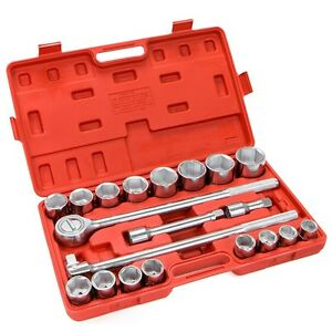 21 Pc 3 4 Drive Socket Wrench Set Standard Sae Tools Truck Repair Sockets Auto