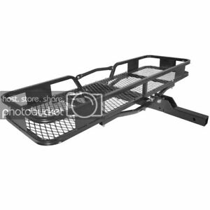Titan Ramps Hitch Mounted Steel Cargo Carrier Basket 500 Lb Capacity 2 Receiver