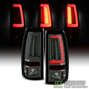 Gunmetal Smoked 2003 2006 Chevy Silverado Pyro Tube Led Tail Lights Brake Lamp