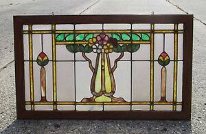 Antique Arts Crafts Stained Glass Window W Solid Wood Framed 12