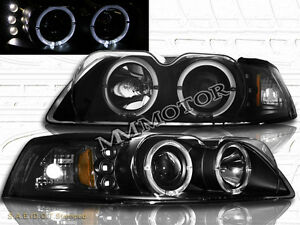99 04 Ford Mustang Black Dual Halo Projector Led Headlights