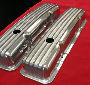 Sbc Finned Polished Alu Valve Covers Short Small Block Chevy Sb 283 327 350 383