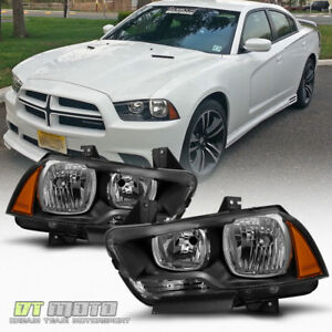 Blk 2011 2014 Dodge Charger Halogen Headlights Headlamps Replacement Left Right