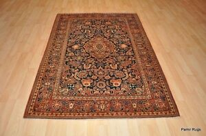 Antique Persian Kashan 5x7 Ft Authentic Pre 1900 Late 19th Century Area Rug