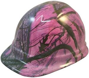 Woody Pink Camo Hydro Dipped Hard Hat Ratchet Suspension