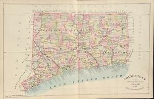 Antique Map State Of Connecticut Hurd 1893