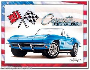 Vintage Replica Tin Metal Sign Corvette Gm Sting Ray Bowtie Chevy Part Logo 1913