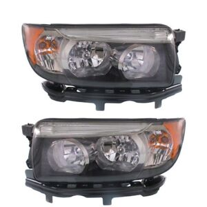 Fits Subaru Forester 2006 2008 Black Sport Headlights Head Lights Lamps Pair