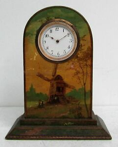 Very Nice 19th Century Dutch Windmill Hand Painted 4 Miniature Wood Clock