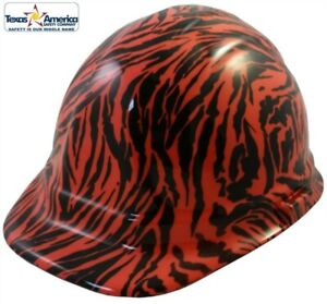 New Water Dipped Cap Style Hard Hat Ratchet Liner Orange Tiger Print