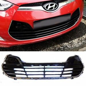 Front Bumper Lower Grille Glossy Black For 2011 Veloster Oem Parts
