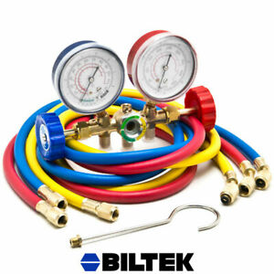 Hvac R12 R22 R502 A c Diagnostic Manifold Gauge Kit W 3 Color 60 Charging Hose