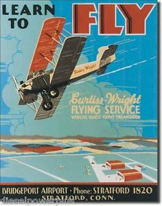 Vintage Replica Tin Metal Sign Fly Wright Poster Air Service Airplane Jet 237