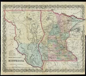 Colton 1857 Rare Original Territorial Map Of Minnesota Territory Trading Posts