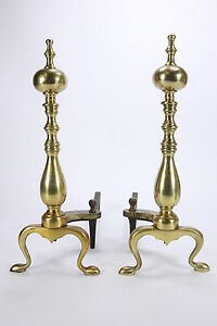 Brass Andirons With Cast Iron Log Dogs 2062 Shank Mold Firedogs Rounded Columns
