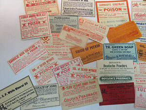 Medicine Labels Lot Of 32 Vintage From Various States And Locations Lot 1